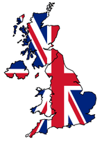 UK map with union jack flag