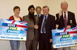 Alan Farnell with Kam Singh and local supporters