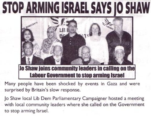 Lib Dem Kings Cross Anti Israel leaflet