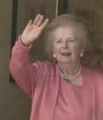 Margaret Thatcher arrives home