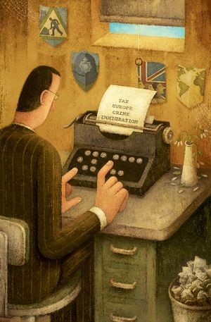 BARRIE: TYPIST WITH SHIELDS
