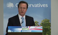 David Cameron at podium