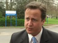 David Cameron outside Stafford Hospital