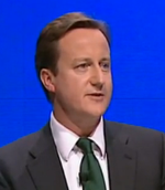 David Cameron blue background