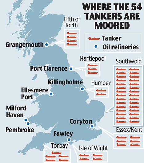 UK oil tankers map