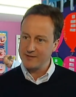 David Cameron in classroom casual