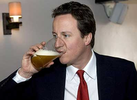 David Cameron drinking beer