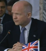 William Hague summit Union jack square