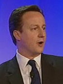 David Cameron speaking blue 2010