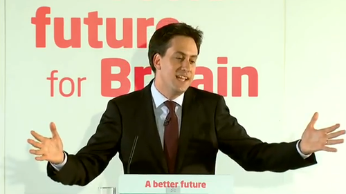 Miliband Ed Hands Out