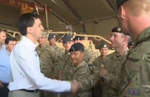 Miliband with troops