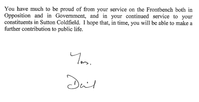 Resignation letter of Andrew Mitchell and Prime Ministers reply – Resignation Letter Reply