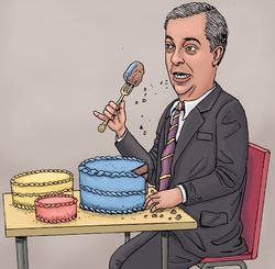 Farage Nigel Eating Cakes